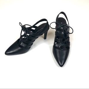 Franco Sarto Black Heels Lace Up open back 5